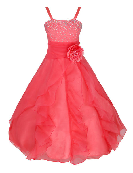 Online discount shop Australia - Kids Girls Embroidered Flower Bow Formal Party Ball Gown Prom Princess Bridesmaid Wedding Children Tutu Dress Size 2-14Y
