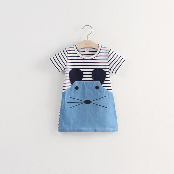 Online discount shop Australia - Casual style long sleeve Striped lovely little mouse design girls dress children clothing