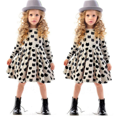 Online discount shop Australia - 2-7Year Girls Clothes Kids Vintage Cat Long Sleeve Tulle Kids Party Dresses