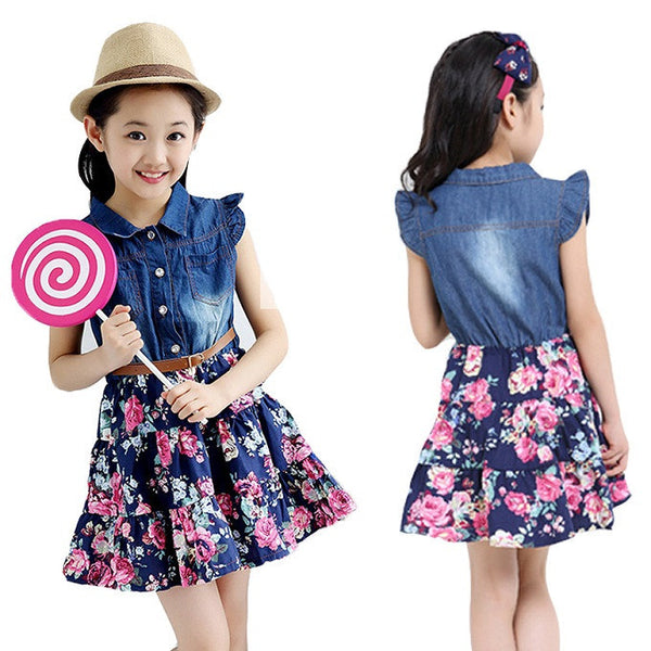 8a20dc5fc703 Dresses For Girls Cotton Children Clothing Denim Baby Clothes Floral Short  Sleeve Kids Clothes For Girls
