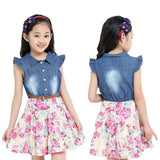 Online discount shop Australia - Dresses For Girls Cotton Children Clothing Denim Baby Clothes Floral Short Sleeve Kids Clothes For Girls Princess Dress