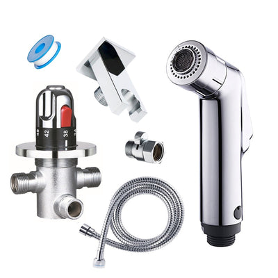 Wall mounted thermostatic two functions toilet bidet faucet thermostatic valve mixer bidet sprayer handheld shower head