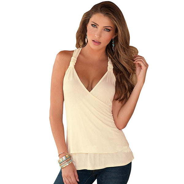 Fashion Women Backless Tank Top V-neck Halter  Lace Tops Sexy Women Clubwear