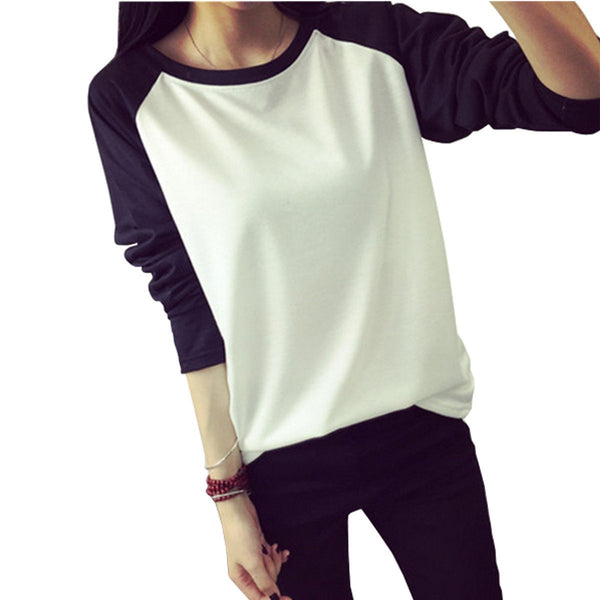 Online discount shop Australia - Fall Korean Style Women T-shirt Sweatshirt Raglan Long Sleeve Patchwork Loose  Tee Tops  Plus Size M-XXL