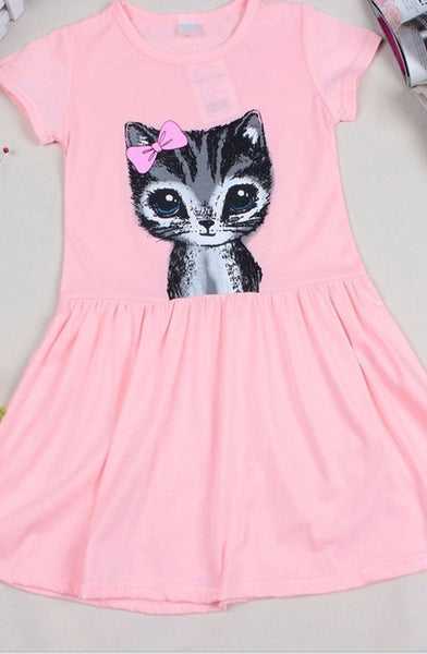 Online discount shop Australia - Girl Dress Cat Print Grey Baby Girl Dress Children Clothing Children Dress 2-7years