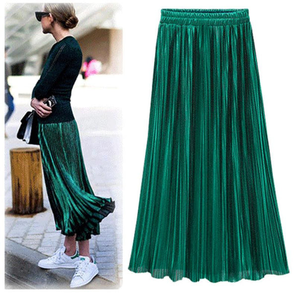 Women Fashion Gold Sequined Skirts Female New Black Red Green High Waist Pleated Midi Novelty Midi Skirts