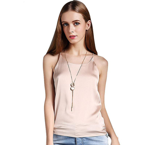 Silk Halter Top Women Camisole Style Sleeveless Vest Slim White Crop Top Women