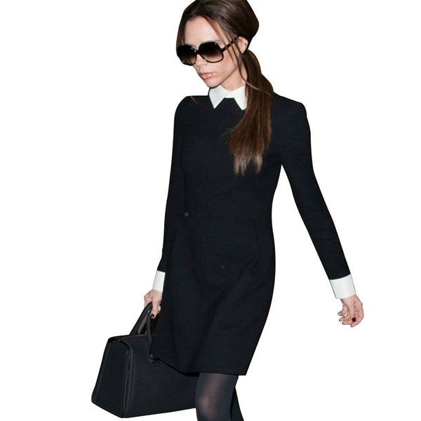 Online discount shop Australia - Fashion Star Style Victoria Beckham Dress Slim Elegant Turn-down Collar Long Sleeve Black Dresses for Women