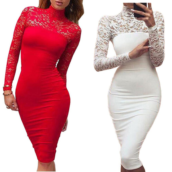 Turtleneck Long Sleeve Lace Midi Sexy Club Bandage Bodycon Dress Autumn White Red Black Women Elastic Elegant Party Dresses