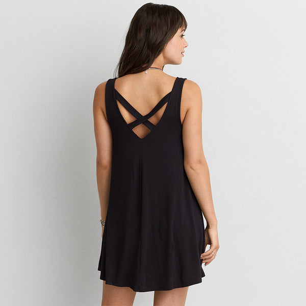 Online discount shop Australia - High Quality Plus Size 6XL Fashion Black Cotton Sleeveless Casual Loose Bandage V Back Dress Women Summer XXXXL 5XL Dresses