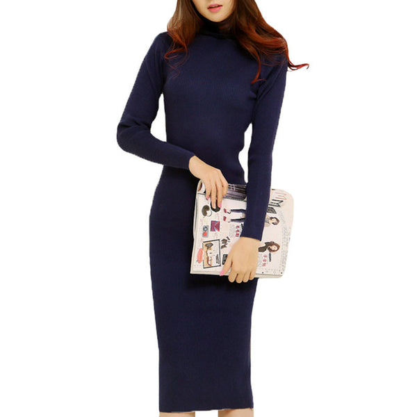 Online discount shop Australia - Fashion Women Autumn Winter Sweater Dresses Slim Turtleneck Sexy Bodycon Solid Color Robe LongKnitted Dress WZQ128
