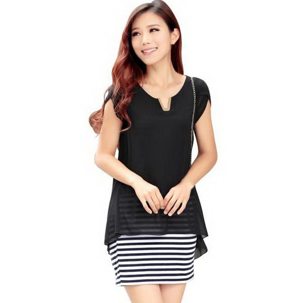 TLZC Black Striped Design Women One-Piece Clothing Size M-3XL Fashion Chffon Shirt Sweet Lady Blouses Dress