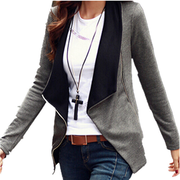 Online discount shop Australia - Korean Style Long Sleeve Slim Turn Down Collar Side Zipper Coat Jacket Women Cardigan Casaco