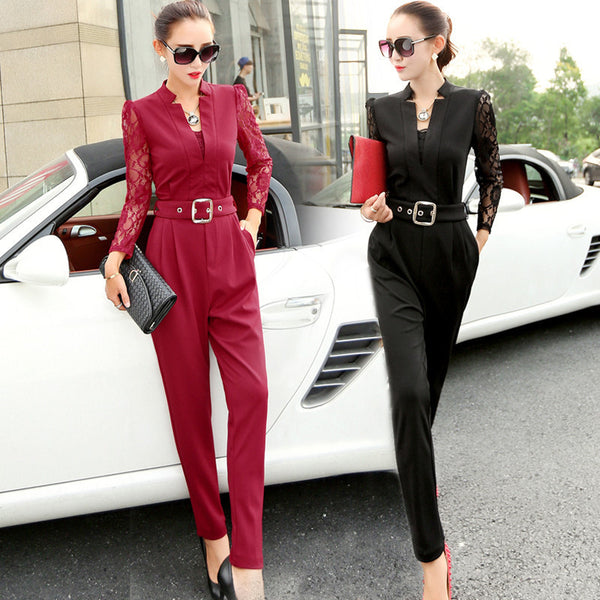 New Fashion Women Jumpsuits Rompers Casual Elegant Rompers Lace Sleeve Female Jumpsuit Plus Size Overalls