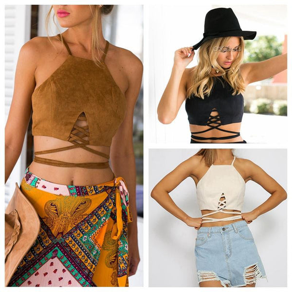 Women Faux Suede Halter Cross Hollow Boho Bohemian Bandage Camis Women's Bustier Bralet Cropped Top Vest