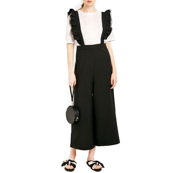 Online discount shop Australia - Fashion Womens Solid Black Ruffle Patchwork Casual Jumpsuit Sleeveless Wide Leg Rompers Overalls