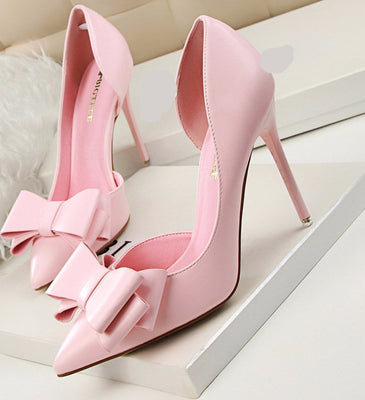 New Women Pumps Sweet Bowknot High-heeled Shoes Thin Pink High Heel Shoes Hollow Pointed Stiletto Elegant G3168-2