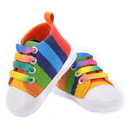 Online discount shop Australia - Baby shoes girls boys fashion rainbow canvas shoes soft prewalkers casual baby shoes