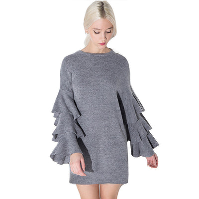 Ruffle Layer Sleeves New Lady Short Dress Brand New Fashion Design O Neck Grey Dress