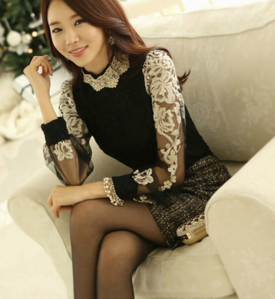 Online discount shop Australia - High Quality  New Arrival Plus  Collar Beads Decorated Gauze Long Sleeve Lace Blouse