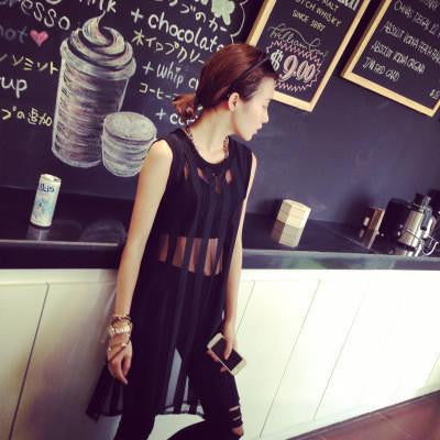 wind big tide model nets yarn stripe long vest sexy hollow out the dress Women's personality