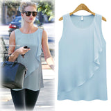 Online discount shop Australia - 4 Colors Strap Sleeveless Shirt Women Plus Size New Chiffon Blouses O-neck Sexy Loose Women Tops