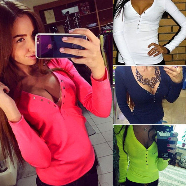 Online discount shop Australia - fashion plus size V neck women t shirt punk Long sleeve cropped sexy top tees women