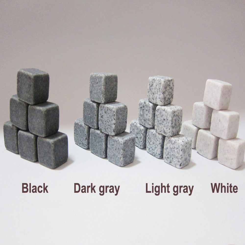 (6pc/9pc Set) 100% Natural Whiskey Stones Sipping Ice Cube Whisky Stone Whisky Rock Cooler Wedding Gift Favor9pc black seta