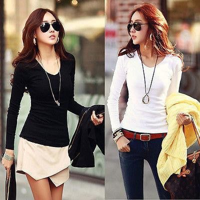 Women Basic Plain Round Crew Neck Tee Shirts Stretch Long Sleeve Top
