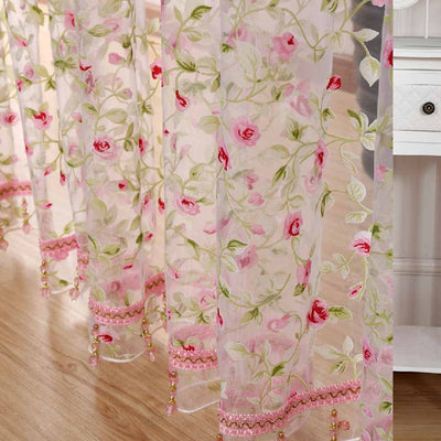 rose modern tulle for windows shade sheer curtains fabric for ...