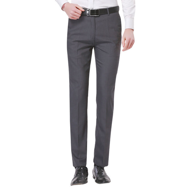 Online discount shop Australia - Men's Gray-Solid Suit Separate Pant Flat-Front Slim Fit Unelastic Lightweight Wrinkle-resistant Business Dress Pants