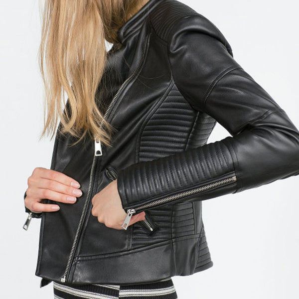 Fashion Women Faux Soft Leather Jackets HOT Pu Black Blazer Zippers Coat Motorcycle Outerwear