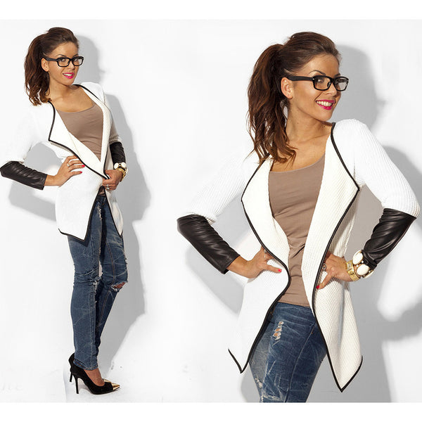 Online discount shop Australia - fashion long sleeve leather female blouses sweater casual cardigan woman jacket and coat white grey black