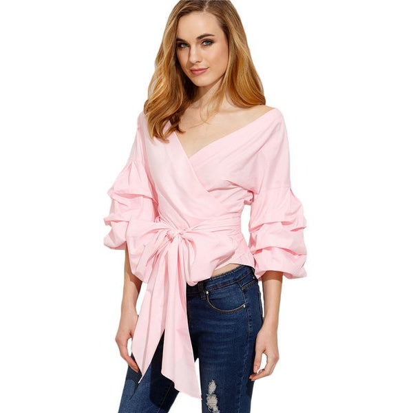 Sheinside Pink Pleated Three Quarter Length Sleeve Bow Tie Waist Shirt Vogue Clothing Women V Neck Blouse