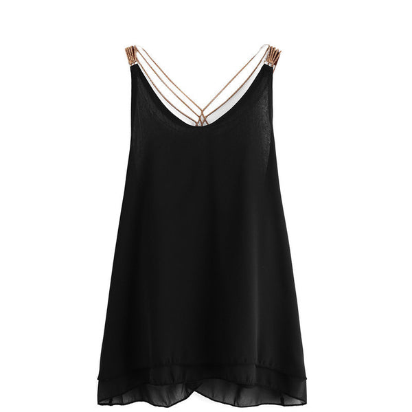 Online discount shop Australia - Fashion High Street Clothing Brand Female New Korean Style Tops Chain Strap Chiffon Double Layer Sexy Camisole