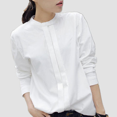 New Women Shirts Blouses Korean Plus Size Elegant Ladies OL Cotton Long Sleeve White Shirt for Women