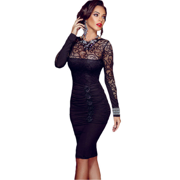 Online discount shop Australia - Long Sleeve Celebrity Floral Applique Lace Bodycon Midi Dress Hollow Out autumn winter dress