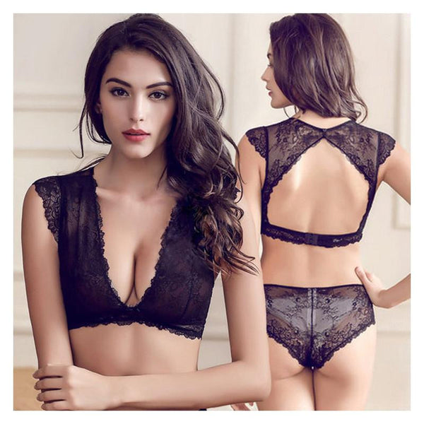 Slim lace temptation sexy transparent and comfortable bra set push up deep VS young women bra underwear set Black white