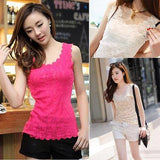 Women Candy Color Floral Lace Sexy Top Short Sleeve Blouse Crew Neck shirt