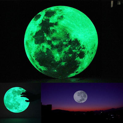 Online discount shop Australia - 1pcs 30cm Large Moon Glow in the Dark Luminous Wall Sticker Home Decoration Decor