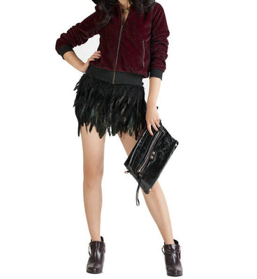 Women Black Feather Mini Skirt Elastic Waistband One Size