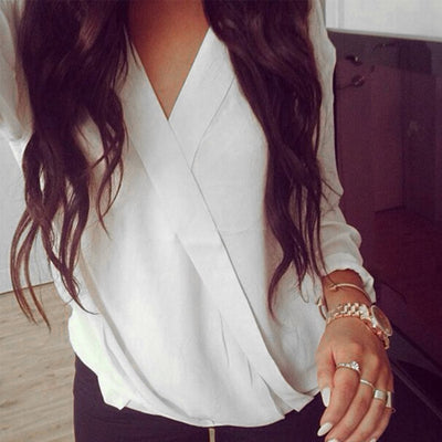 Sexy Women Blouses Casual Loose Tops Chiffon Blouse Long Sleeve Deep V Neck Solid Shirts Plus Size