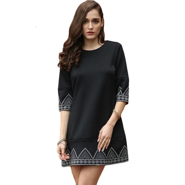 SheIn Women New Style Summer Dresses Vintage Clothes Black Round Neck Half Sleeve Embroidered Loose Casual Dress