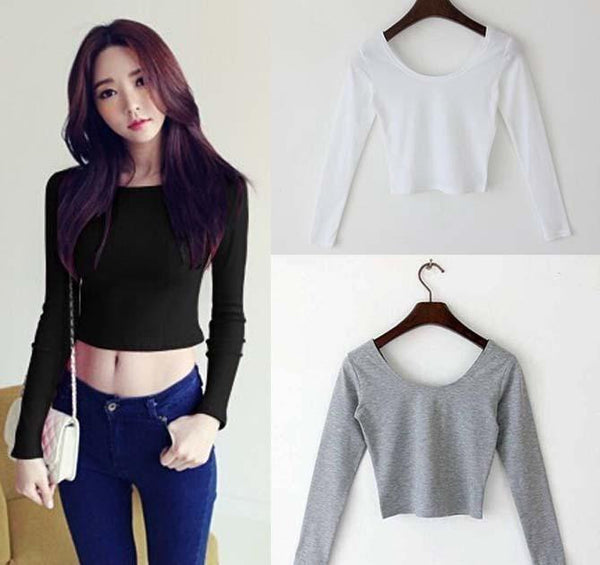 Online discount shop Australia - Fall fashion  Sexy Crop Top Ladies long Sleeve t shirt women tops Basic Stretch T-shirts Bare-midriff solid color