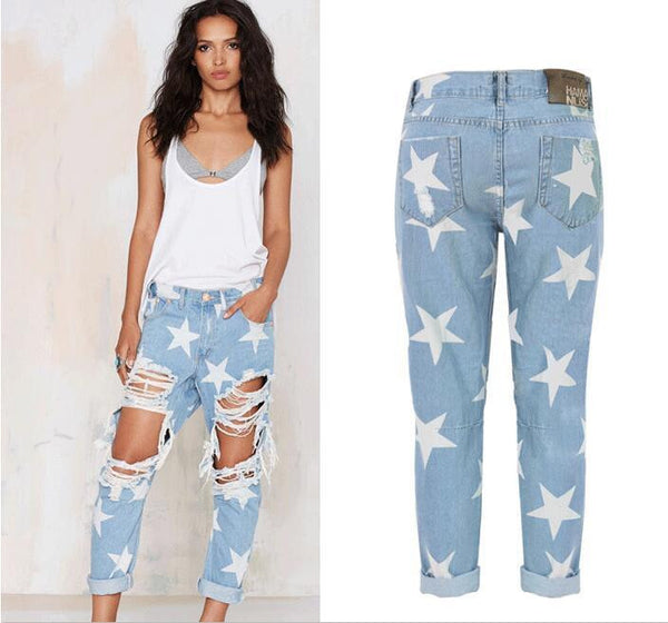 0c10e3ad2a0 Women's Vintage Jeans Sexy Big Holes Ripped Denim Stars Printed Skinny Jeans  8039