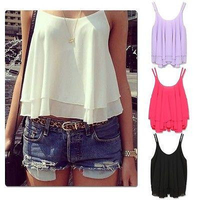 Women Casual Sleeveless Shirt Chiffon Loose Vest Tank Top Blouse
