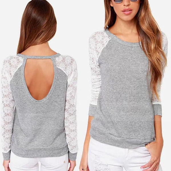 Women Backless Long Sleeve Embroidery Lace Crochet Shirt Top Blouse Grey
