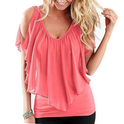 Sexy women blouse Women Sleeveless Irregular Chiffon Blouses Off The Shoulder Women Tops LJ1254M