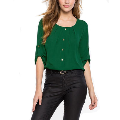 Style Casual Office women Shirts Ladies Round Neck Long Sleeve Chiffon Blouse