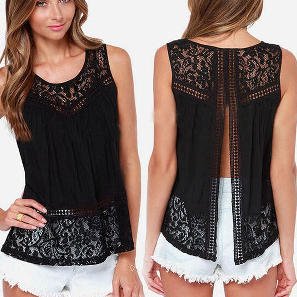 Sexy Open Back Sleeveless Blouses Shirts Women See Through Lace Chiffon Tops